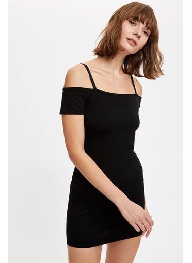 DeFacto Kolları Volan Detaylı Örme Elbise Siyah